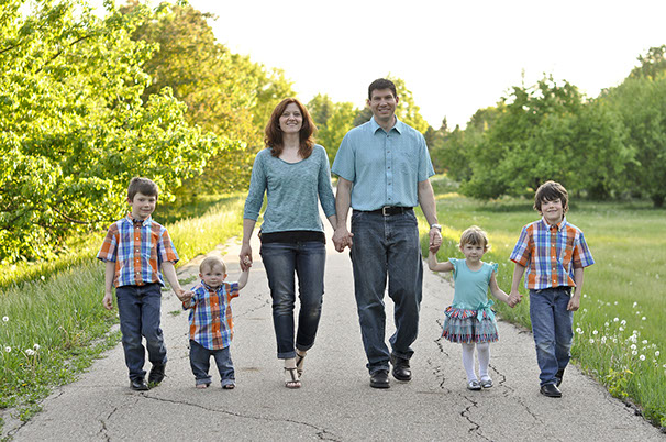 Photo of the Bultema family walking on a path