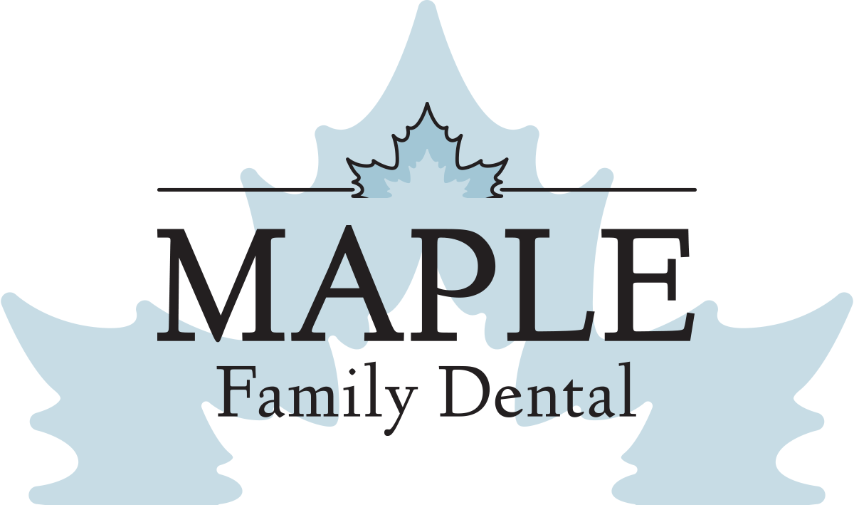 Maple Family Dental logo: a light blue maple leaf with the words Maple Family Dental across it